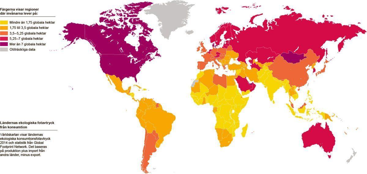 Ländernas ekologiska fotavtryck från konsumtion