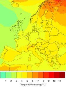 SMHI Beräknad förändring av årstemperaturena